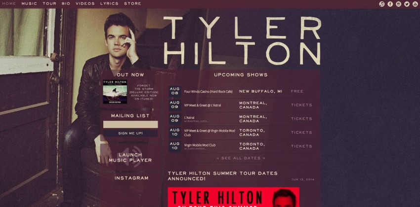 Web Design for Musicians | Music Websites | Tyler Hilton