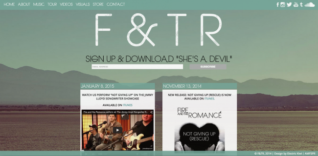 Electric Kiwi: Websites for Bands | Fire and the Romance