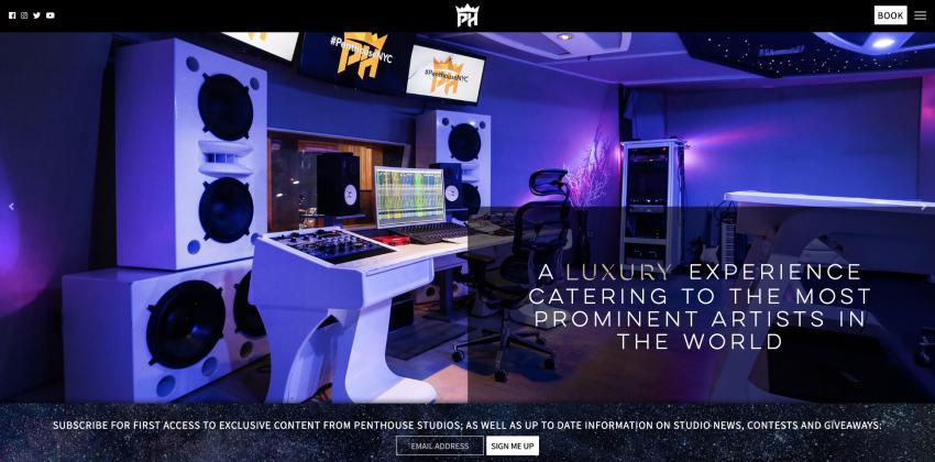 Website Design for Penthouse Recording Studio in New York City